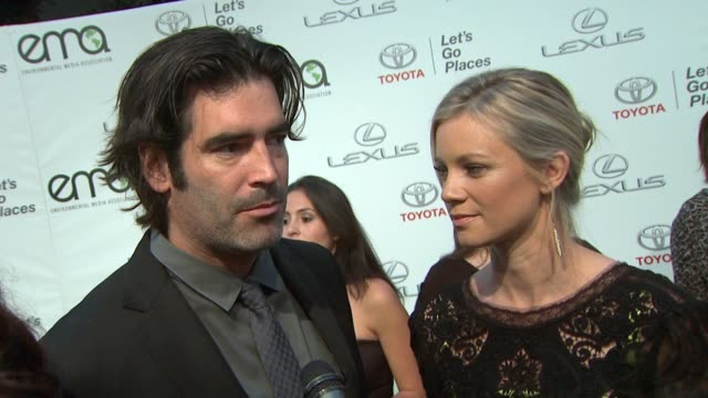 interview amy smart carter oosterhouse on the ema awards 2013 environmental media awards presented by toyota lexus at warner bros studios in burbank... - amy carter stock videos & royalty-free footage