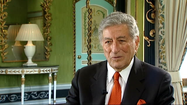 friends and fans pay tribute 872011 england london int tony bennett interview sot you don't get to it - tony bennett singer stock videos and b-roll footage