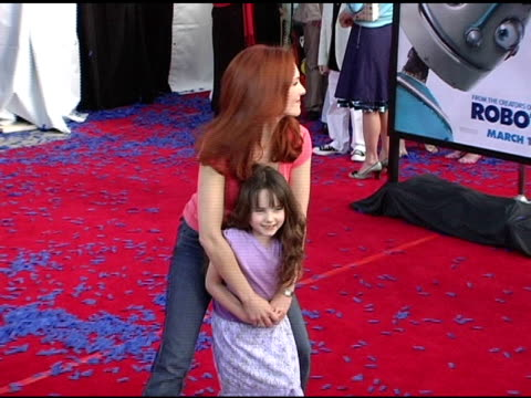amy yasbeck and daughter stella at the 'robots' world premiere at the mann village theatre in westwood california on march 6 2005 - amy yasbeck stock videos & royalty-free footage
