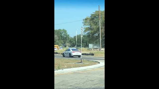 """stockvideo's en b-roll-footage met an 11-year-old allegedly stole a school bus in baton rouge, louisiana, and led """"dozens"""" of police cars in a chase before crashing into a tree on... - https"""