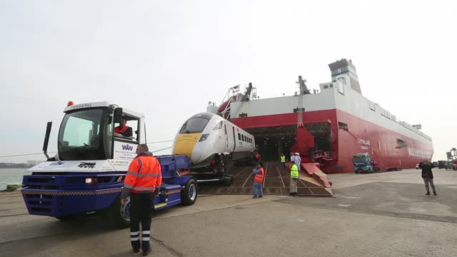 an 800 intercity express train, produced by hitachi ltd., is unloaded from the tamerlane roll-on roll-off transporter ship, operated by wallenius... - personal hygiene product stock videos & royalty-free footage