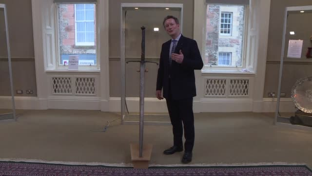 an 800 year old sword wielded by scottish king robert the bruce goes on public display for the first time in many years ahead of the 200th... - bruce stock videos & royalty-free footage