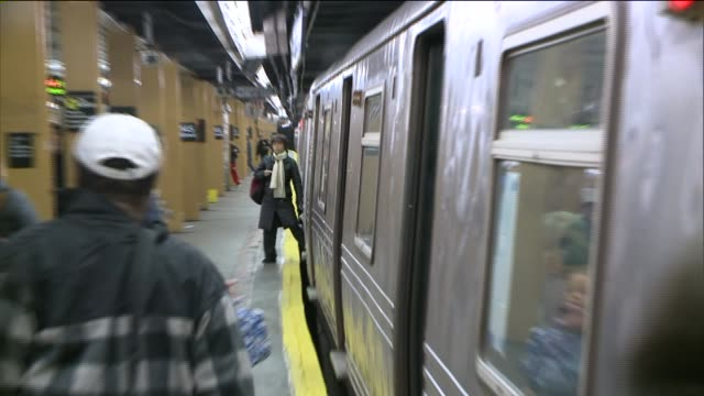 An A Train Leaves at 145th Street Subway Station on November 23 2013 in New York New York