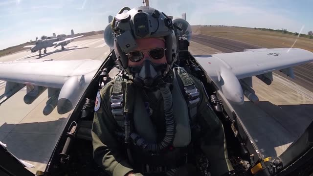 An A10C Thunderbolt pilot from the 163rd Fighter Squadron 122nd Fighter Wing Fort Wayne Ind performs a Close Air Support mission during Operation...