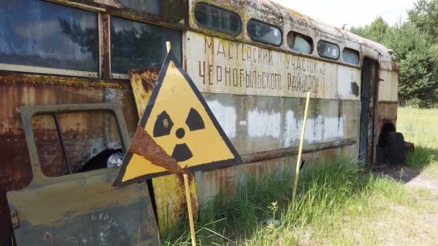 an abandoned bus in kopachi village chernobyl on june 18 2019 the chernobyl disaster was a catastrophic nuclear accident that occurred on 26 april... - radiation stock videos & royalty-free footage