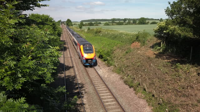 an abellio east midlands railway intercity meridian passenger train on the mdland mainline england. uk - railway track stock videos & royalty-free footage