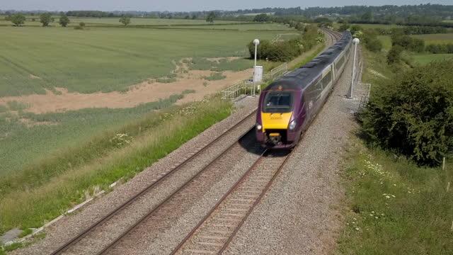 an abellio east midlands railway intercity meridian passenger train on the midland mainline england. uk - railway track stock videos & royalty-free footage