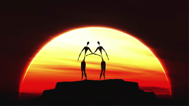 an abstract couple at sunset - digital animation stock videos & royalty-free footage