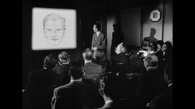 vídeos de stock, filmes e b-roll de 1948 an accurate facial composite is completed, and a suspect is identified - 1948