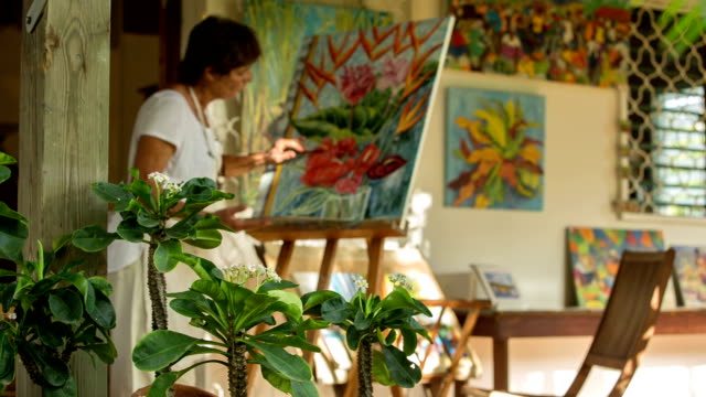 an active female senior paints pictures in her art studio - easel stock videos and b-roll footage