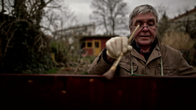 An active senior man during winter work in his old Berlin allotment