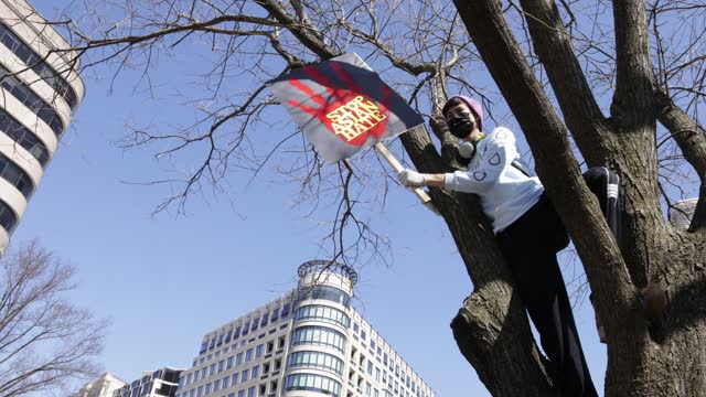 "an activist in a mask waves a ""stop asian hate"" sign in a tree during a ""dc rally for collective safety - protect asian/aapi communities,"" hosted by... - pacific islanders stock videos & royalty-free footage"