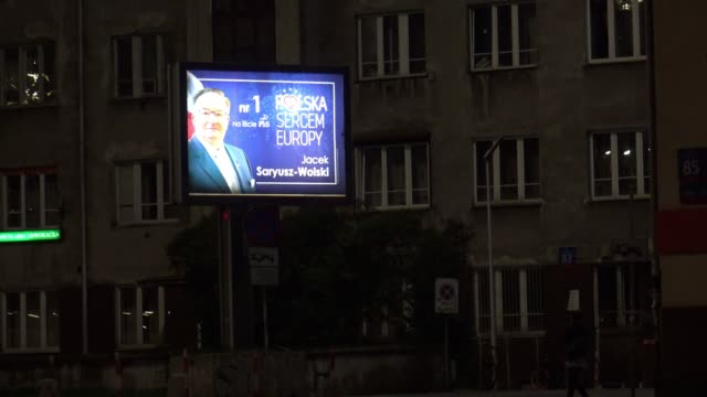 an adevertisement for conservative mep candidate jacek saryusz-wolski is seen in central warsaw, poland on may 22, 2019. - mep stock videos & royalty-free footage
