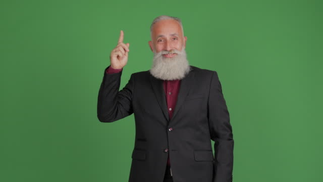 vídeos de stock e filmes b-roll de an adult bearded man thinks and is happy with his idea on a green background - cabelo grisalho