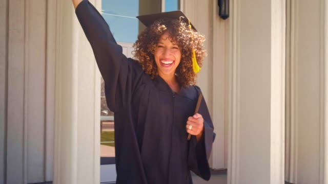 an adult student graduate - curly stock videos & royalty-free footage