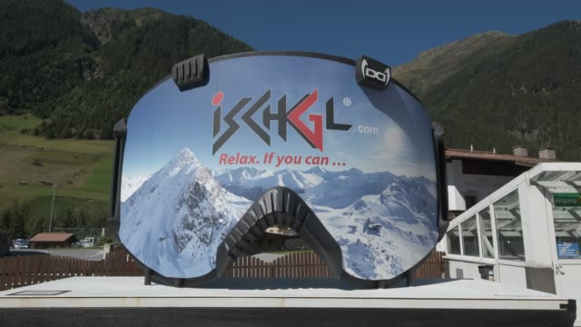 an advertisement in the shape of ski goggles for the ischgl ski resort on september 10 2020 in ischgl austria ischgl became a superspreader locality... - ski goggles stock videos & royalty-free footage