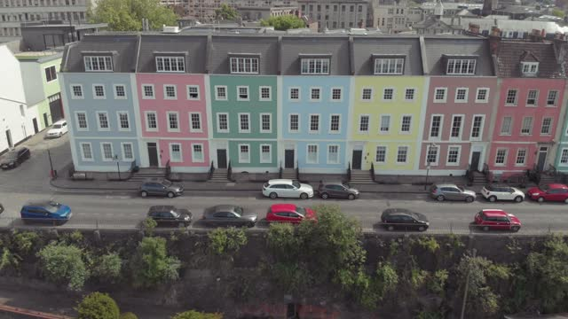 an aerial drone shot of the distinct multi-coloured houses along the harbourside on january 19, 2021 in bristol, england. - bright stock videos & royalty-free footage