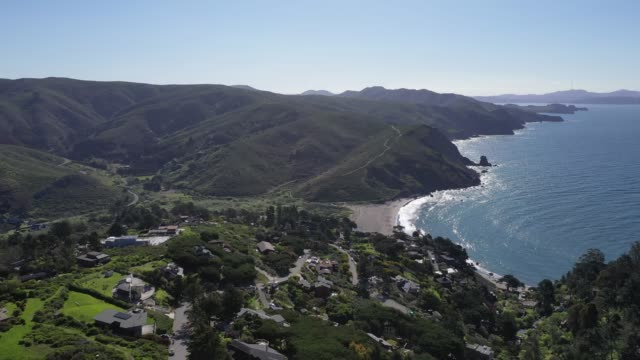 an aerial drone view of muir beach during the coronavirus pandemic on april 01 2020 in marin county california - marin stock videos & royalty-free footage