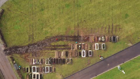 an aerial drone view of recent burial chambers at sutton new hall cemetery which will see an increase in use after handsworth cemetery where the... - handsworth stock videos & royalty-free footage