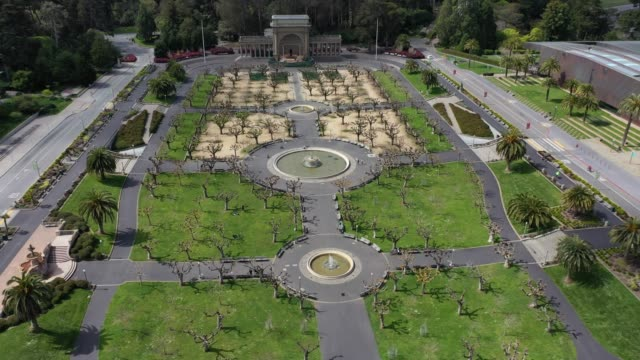 an aerial drone view of the skystar wheel in the music concourse at golden gate park during the coronavirus pandemic on march 30, 2020 in san... - san francisco california stock videos & royalty-free footage