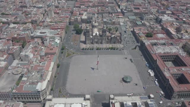 an aerial drone view of zocalo square during the coronavirus pandemic on march 31, 2020 in mexico city, mexico. after being criticized for its slow... - zocalo mexico city stock videos & royalty-free footage