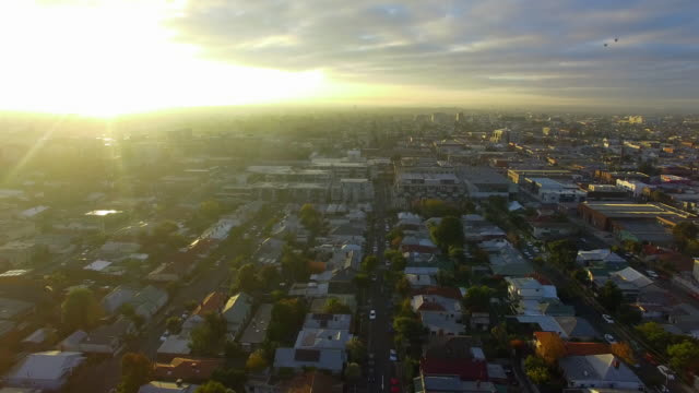 An aerial establishing shot of the Melbourne urban sprawl.