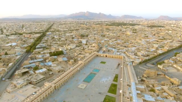 An aerial flyover view of the ancient city of Esfahan, Iran.