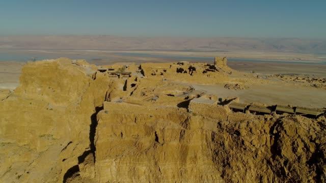 an aerial photograph of masada - archäologie stock-videos und b-roll-filmmaterial