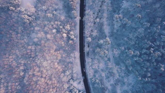 eine antenne road trip über verschneite landschaften - draufsicht stock-videos und b-roll-filmmaterial