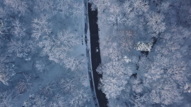 an aerial road trip over snowy landscapes - winter stock videos & royalty-free footage