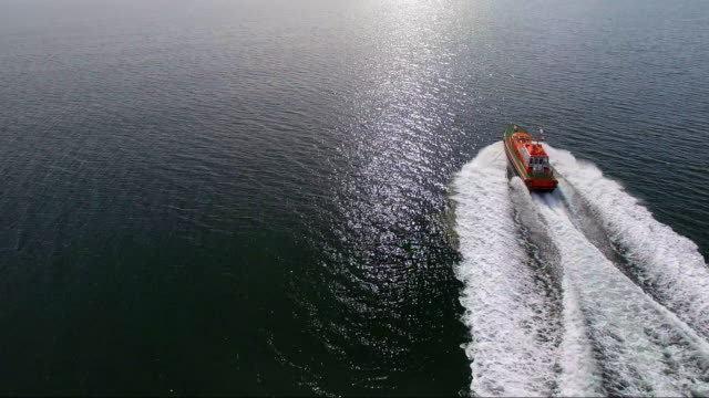 vídeos de stock, filmes e b-roll de an aerial shot of a pilot boat speeding across a smooth ocean to greet its vessel to enter the shipping docklands. - david ewing