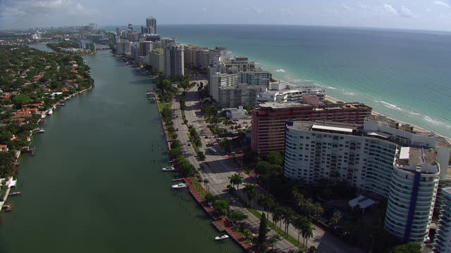 An aerial shot of the cityscape of Miami.