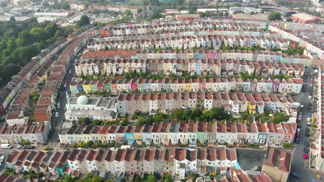 an aerial shot of the neighbourhood of totterdown, displaying its famous characterful multicoloured terraced houses on august 03 in bristol, united... - individuality stock videos & royalty-free footage