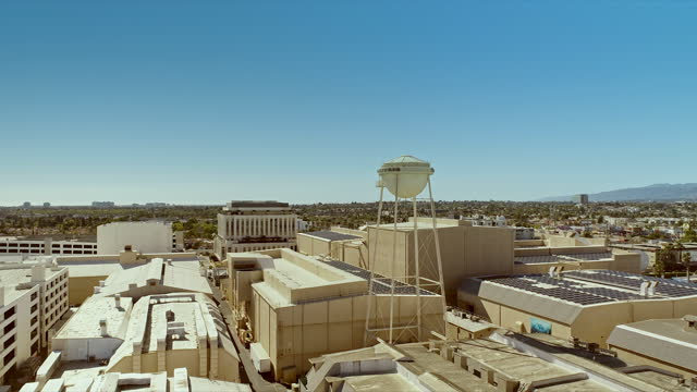 an aerial towards stages 15 and 24 near water tower originally constructed for the metro-goldwyn-mayer studios in the 1930s in culver city,... - studio shot stock videos & royalty-free footage