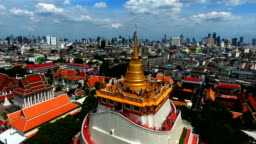 An aerial view from a drone of Wat Saket in Bangkok - Temple of the Golden Mountain