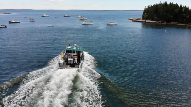 vidéos et rushes de an aerial view from a drone shows lobster boats as they navigate the gulf of maine waters near conary cove lobster co inc. wharf on july 01, 2019 in... - maine