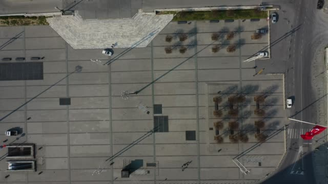 an aerial view from a drone shows taksim square and the surrounding area empty during a twoday lockdown imposed to prevent the spread of coronavirus... - istanbul stock videos & royalty-free footage