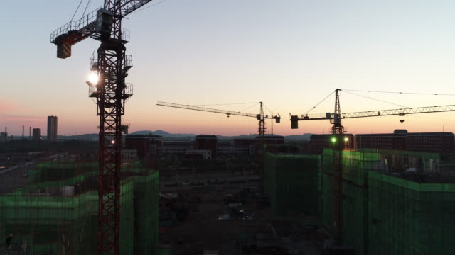 an aerial view of a construction site on may 22, 2017 in inner mongolia, china. - 不動産の看板点の映像素材/bロール
