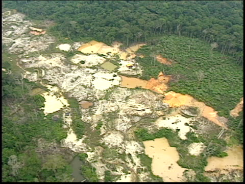 an aerial view of a gold mine in the amazon rainforest - roraima state stock videos and b-roll footage