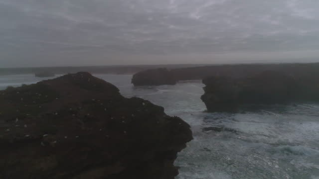 vidéos et rushes de an aerial view of a great ocean road towards the beach and coastline. victoria. australia. - roche sédimentaire