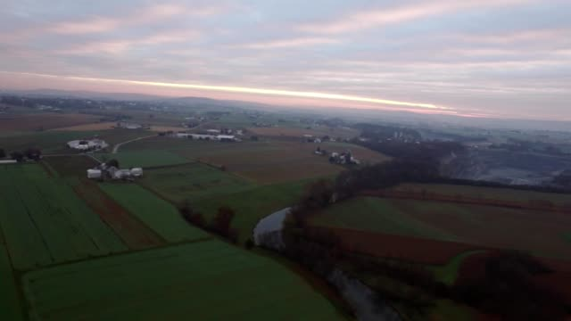 An aerial view of a misty morning in Lancaster Pennsylvania