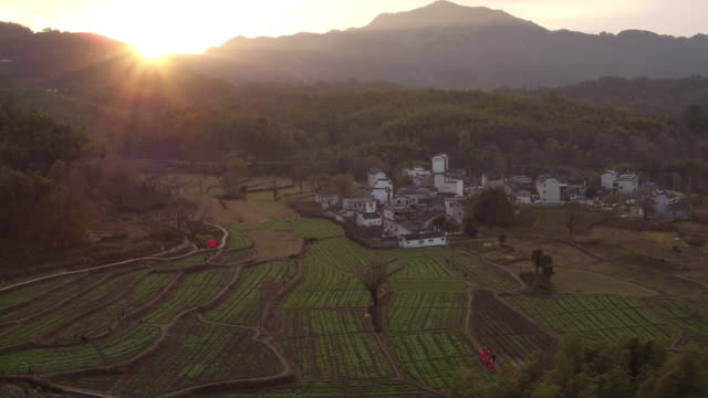 An aerial view of ancient villageTachuan which located in the foot of famous Mount Huangshan