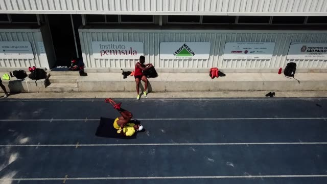 an aerial view of brazilian sprinter vitor hugo dos santos during a training session at nar on october 5 2020 in sao paulo brazil vitor is 24 years... - world sports championship stock videos & royalty-free footage