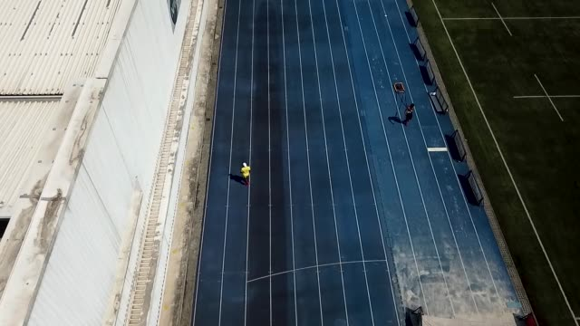 an aerial view of brazilian sprinter vitor hugo dos santos during a training session at nar on october 5, 2020 in sao paulo, brazil. vitor is 24... - world sports championship stock videos & royalty-free footage