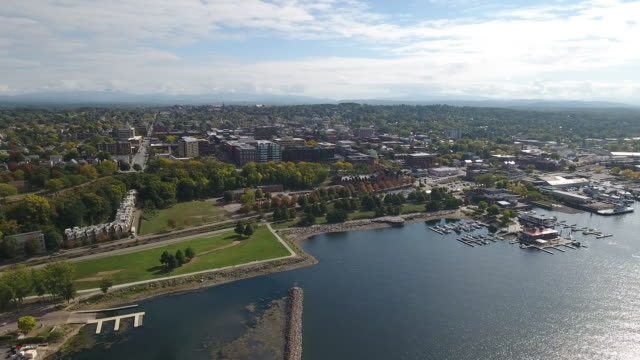 An aerial view of Burlington, Vermont, United States