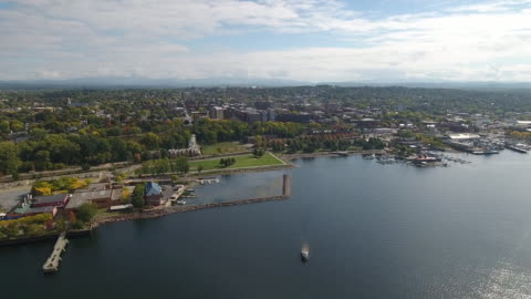 an aerial view of burlington, vermont, united states - vermont stock videos & royalty-free footage