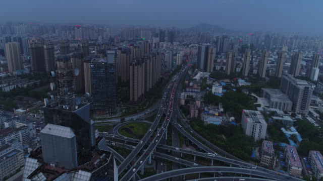 an aerial view of cityscape on april 14, 2017 in hefei, china. - 不動産の看板点の映像素材/bロール