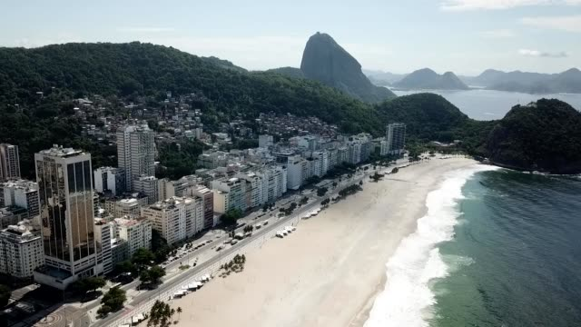an aerial view of copacabana beach amidst the coronavirus pandemic on march 29, 2020 in rio de janeiro, brazil. botafogo beach is usually very busy... - elevated view stock videos & royalty-free footage