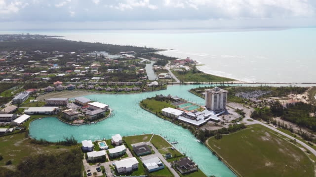 an aerial view of damage caused by hurricane dorian is seen in marsh harbour on great abaco island on september 4 2019 in great abaco bahamas a... - bahamas stock videos & royalty-free footage