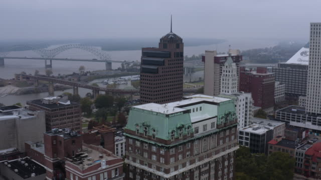 an aerial view of downtown memphis on the mississippi river. tennessee. usa. - memphis tennessee stock videos and b-roll footage